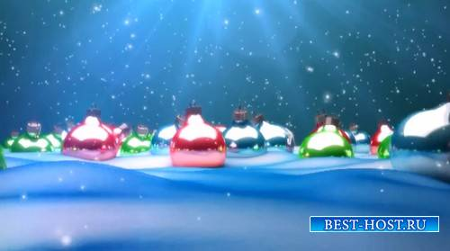 Футаж - Елочные шары на снегу