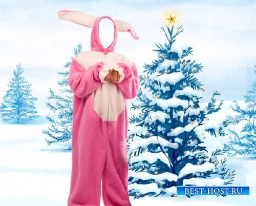 Женский шаблон - Розовый зайка под елкой