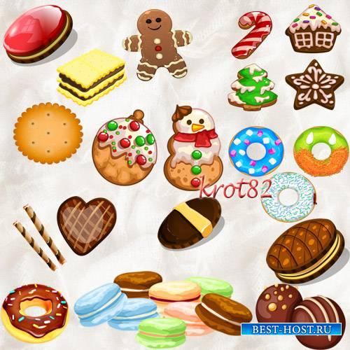 Клипарт PNG на прозрачном фоне  – Печенье, пончики, маскароне, крекер
