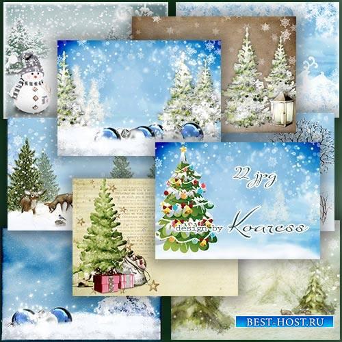 Растровые фоны для дизайна - Долгожданная зима с елкой и сугробами