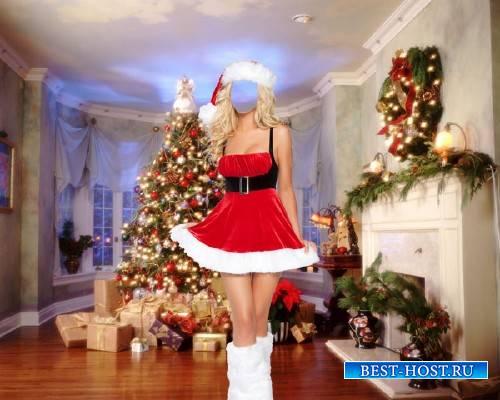 Женский фото шаблон - В новогоднем костюме возле елки