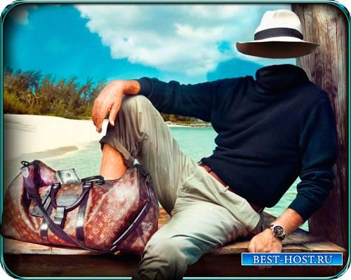 Шаблон для фотошопа - На Карибах с деньгами
