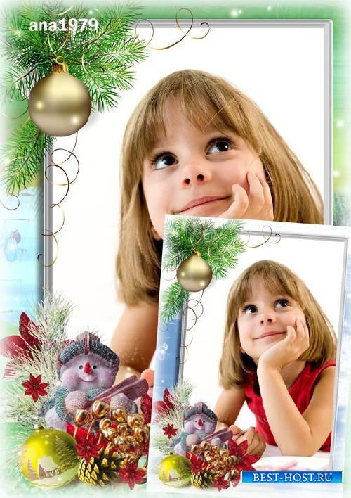 Вертикальная рамка для фотошопа – Снеговик