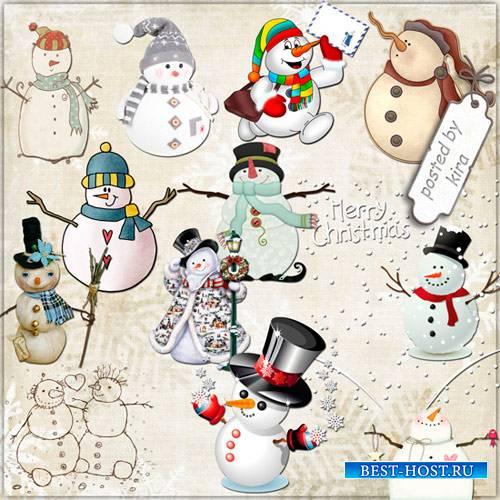 Клипарт зимний - Снеговики в png, часть 2