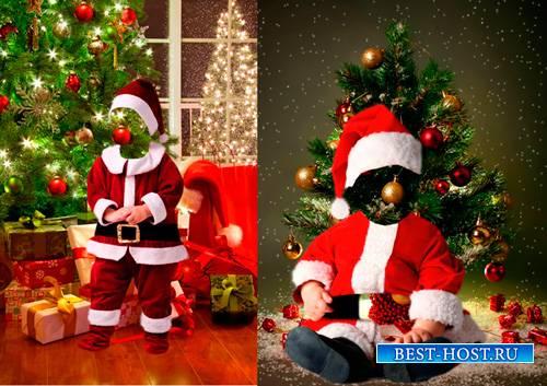 Шаблоны для фотошопа  - Маленькие Санта Клаусы
