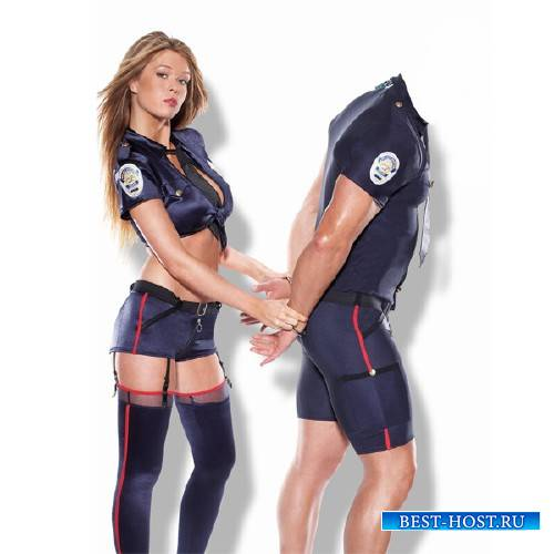 Photoshop шаблон - Арестован красивой полицией