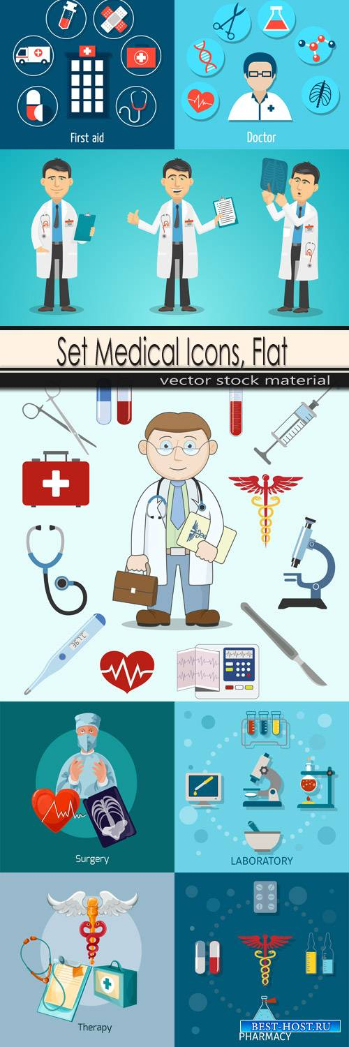 Set Medical Icons, Flat