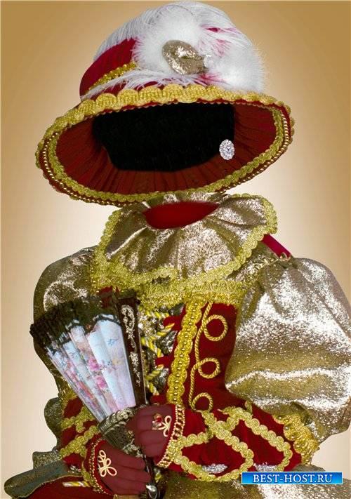 Фотошоп шаблон для девочек – Красно-золотое платье