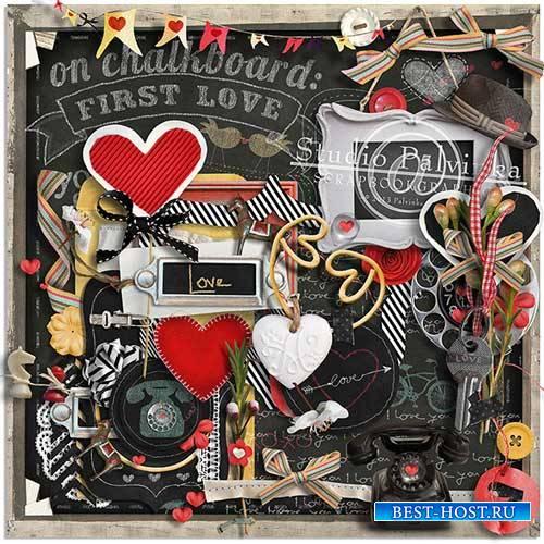 Романтический скрап-комплект - On Chalkboard First Love