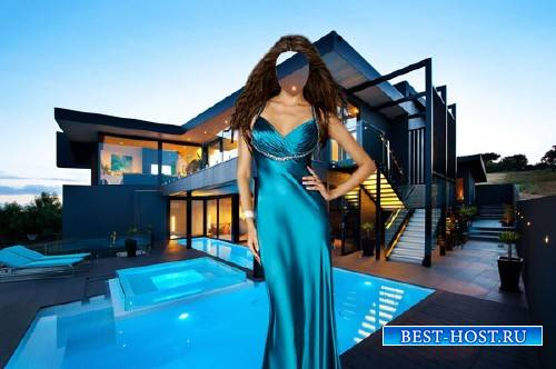 PSD шаблон для девушек - В красивом платье на дорогой вилле