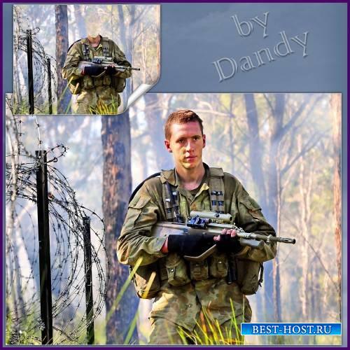 Шаблон для фотошопа - Боец спецназа на учениях