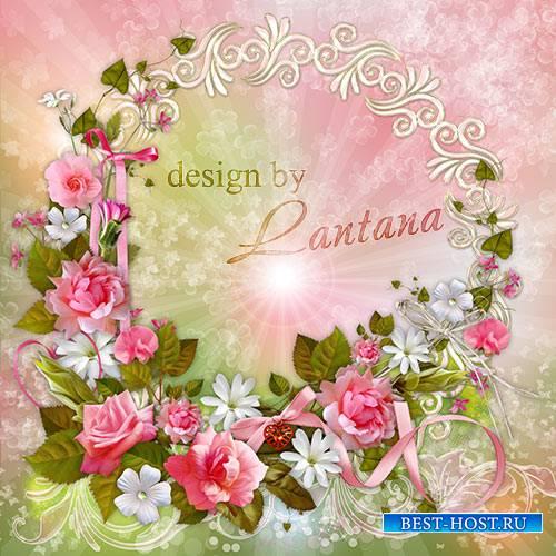 Psd исходник - Венок из роз сплету тебе с любовью