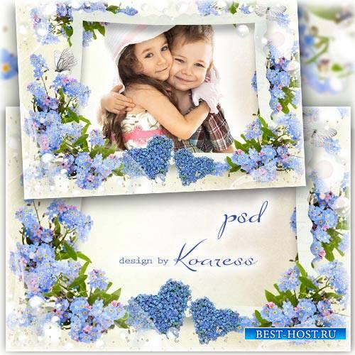 Романтическая рамка с незабудками для фотошопа - Два сердечка