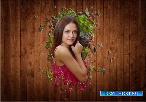 Фоторамка для фотошопа - Листья из дерева
