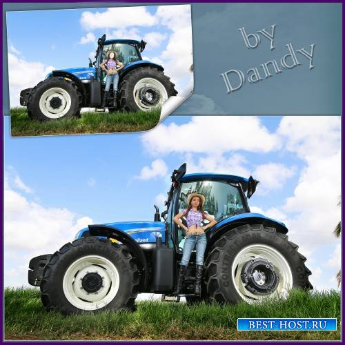 Шаблон для фотошопа - Девушка фермер на тракторе