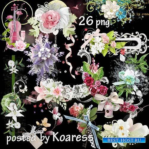 Подборка цветочных кластеров и бордюров на прозрачном фоне для дизайна - Ар ...
