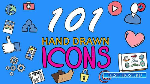 101 Hand Drawn Icons - After Effects Template (pond5)