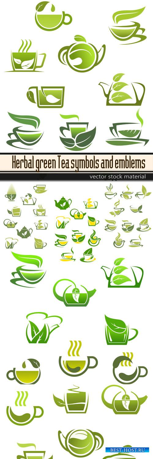 Herbal green Tea symbols and emblems