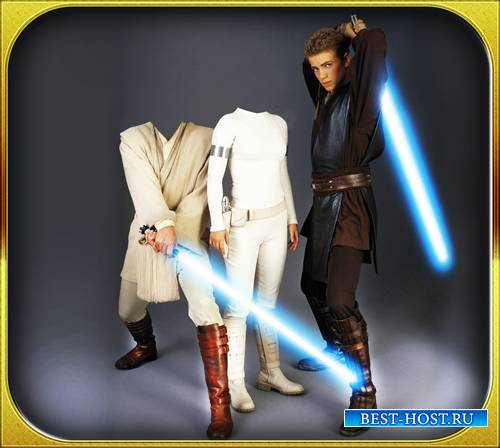 Двойной шаблон для фото - Оби, Ван и Падми