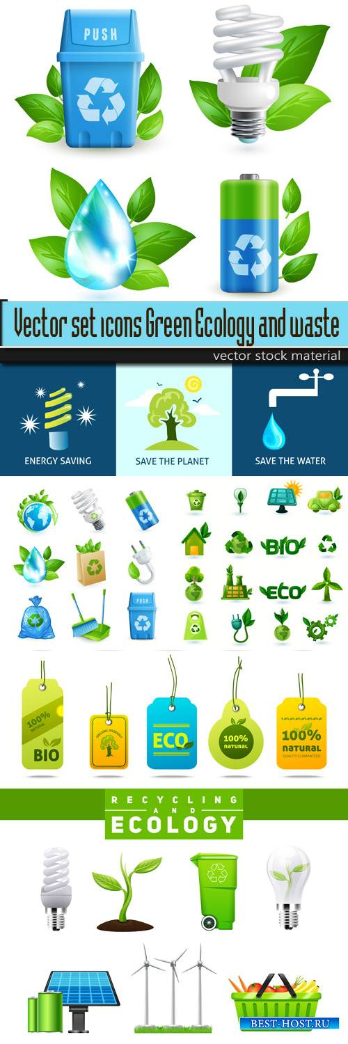 Vector set icons Green Ecology and waste