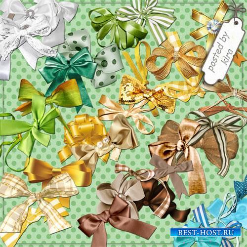 Клипарт - Банты белые, желтые, зеленые, коричневые, голубые