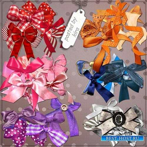 Клипарт - Банты красные, оранжевые, синие, розовые, фиолетовые, серые