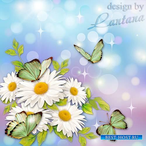 PSD исходник - Около ромашек бабочки порхают