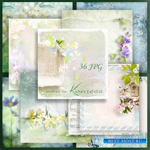 Подборка растровых фонов для дизайна с весенними цветами