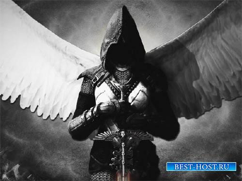 Шаблон для Photoshop - Ангел с мечом