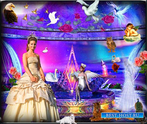 Шаблон для фотошопа - Принцесса в фантастическом мире