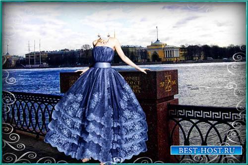 Шаблон для фотошопа - Девушка на набережной