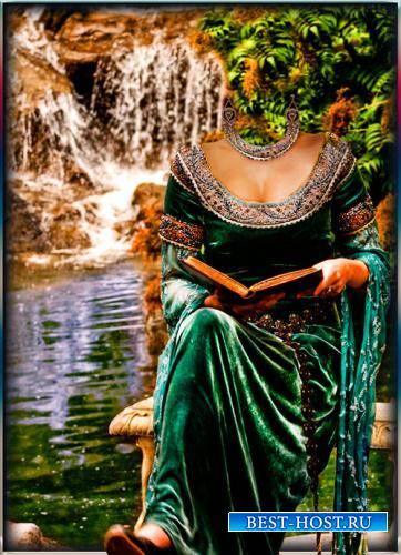 Женский шаблон - Девушка с книгой у водопада