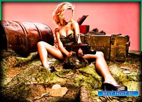 Шаблон для фото - Девушка и пулемет