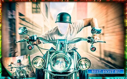 Мужской шаблон - Байкер на мотоцикле