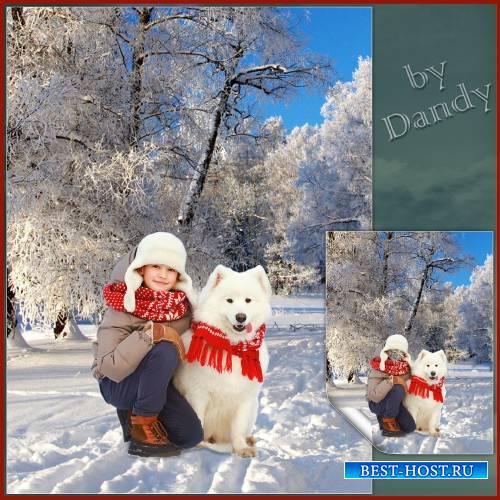 Шаблон для фотошопа - Мальчик с собакой на прогулке