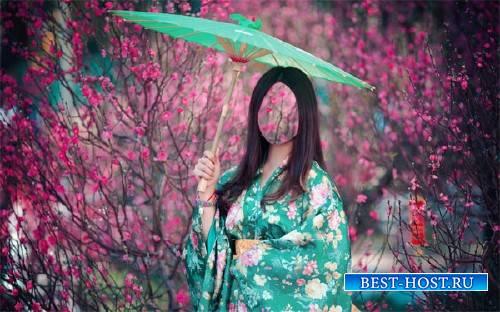 Шаблон для фотошопа - Девушка в ярком кимоно