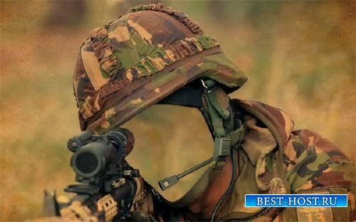 Шаблон для фотошопа - Снайпер с винтовкой