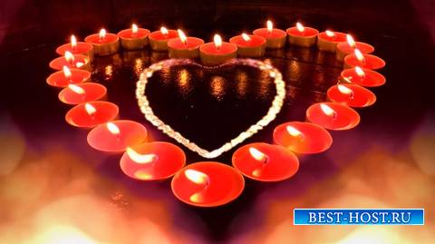 Футаж - Горящие свечи в форме сердца