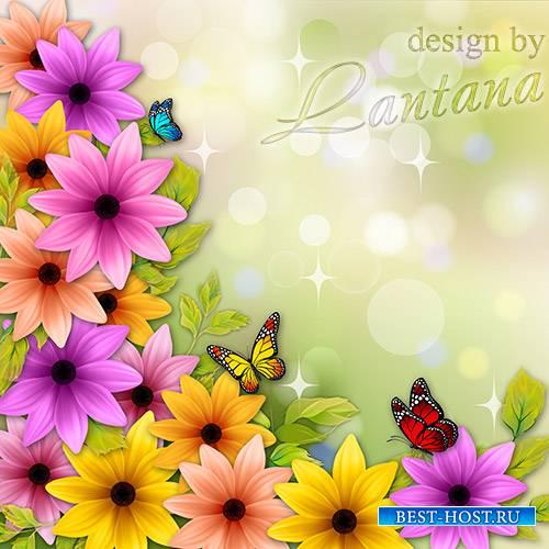 Psd исходник - Шла весна неспешным шагом, украшая мир цветами