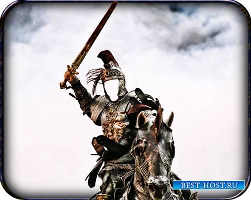 Psd шаблон - Всадник с мечом на коне
