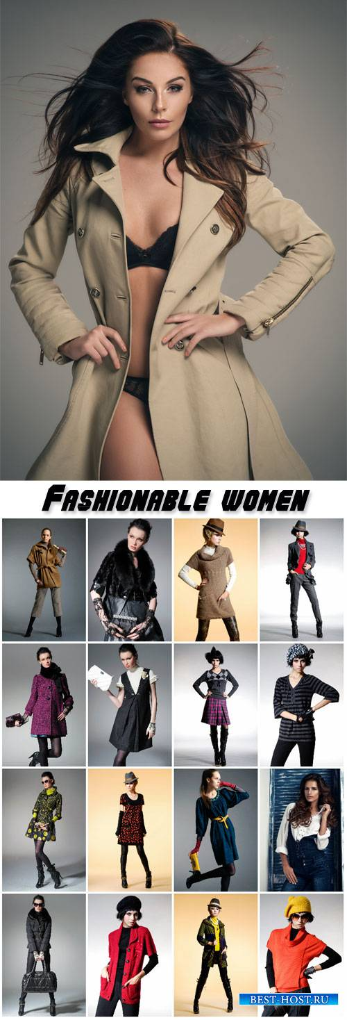 Fashionable women in various trendy clothes