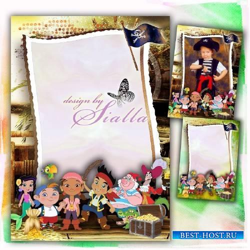 Детская рамочка для мальчика -  Путешествие с Джейком  и пиратами Нетландии
