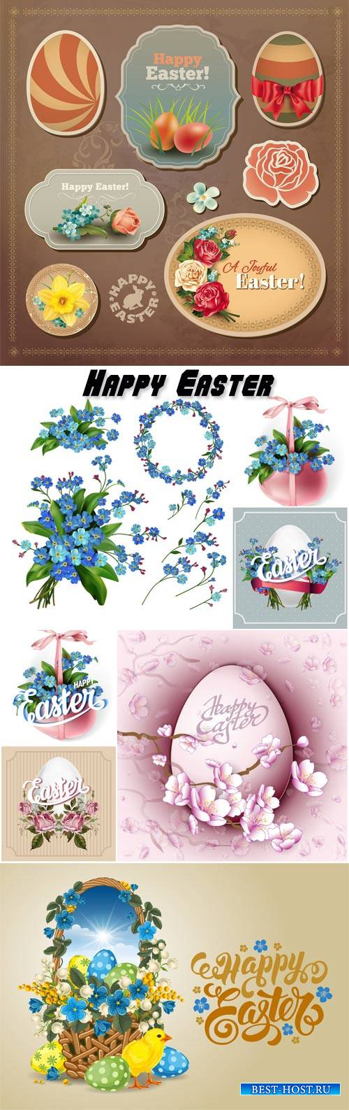 Easter vector with forget-me-and spring flowers