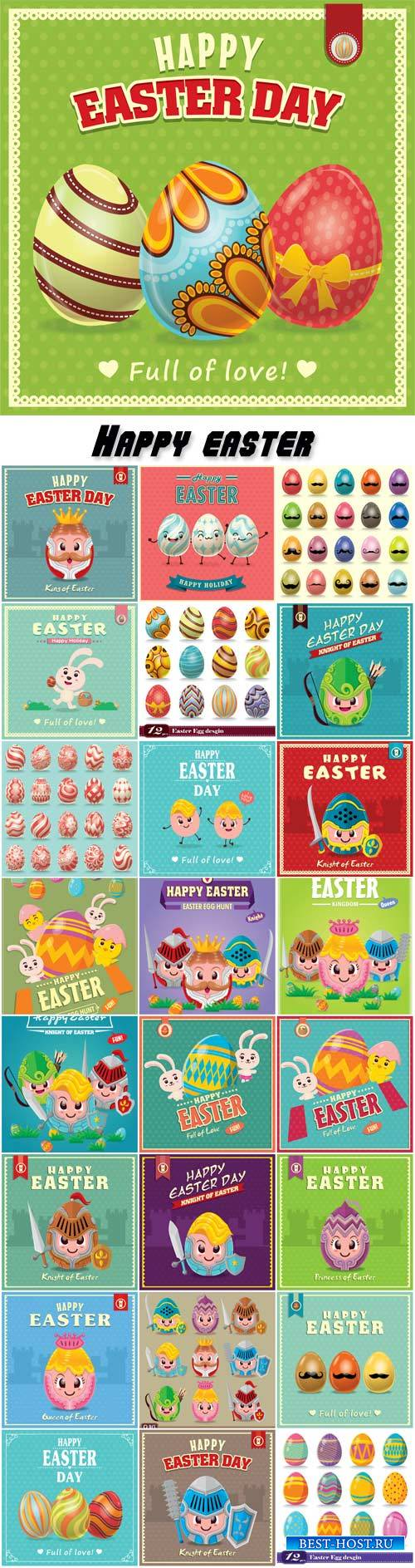 Vintage Easter egg poster design