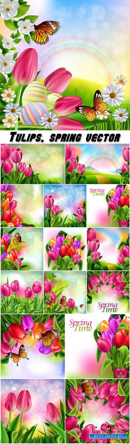 Tulips, spring vector backgrounds
