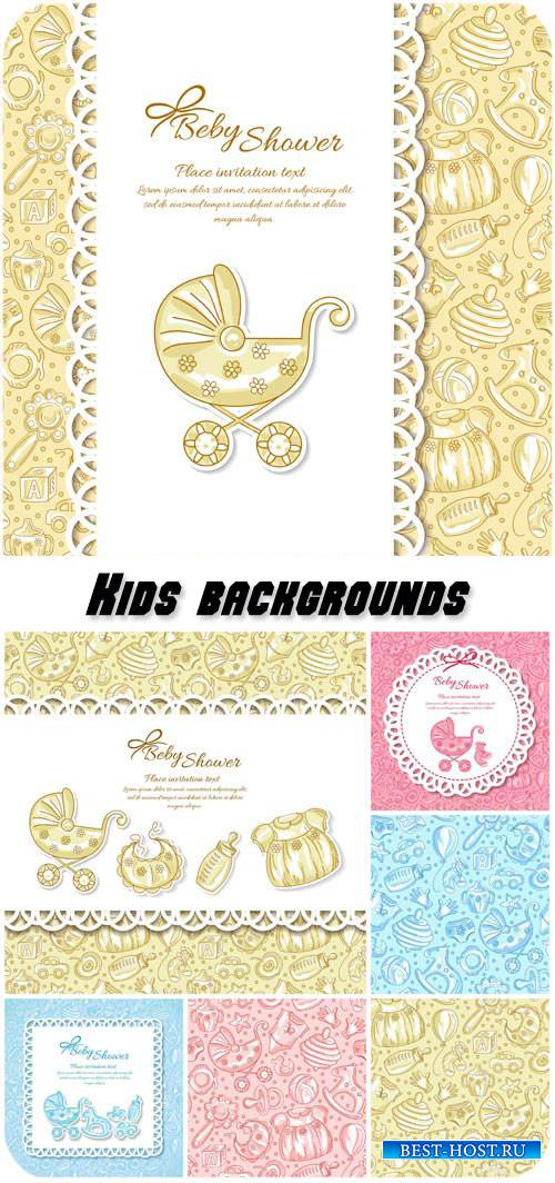 Kids backgrounds, textures vector
