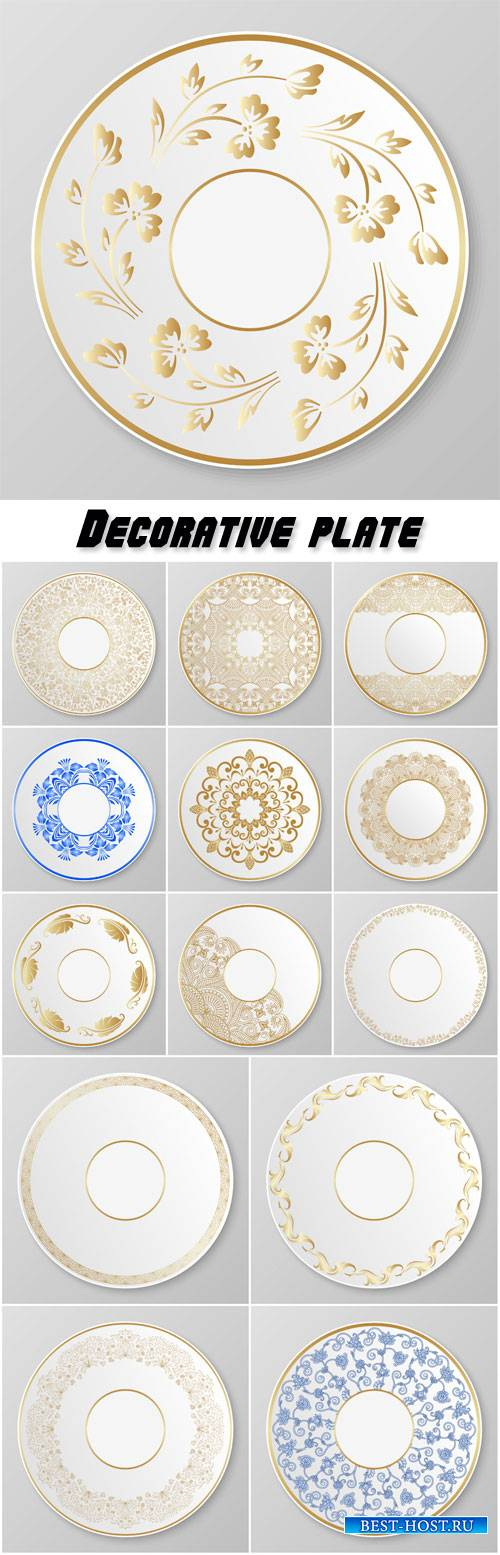 Vector gold decorative plate