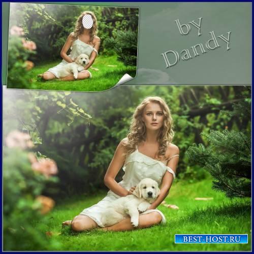 Шаблон для фотошопа - Девушка с милым песиком