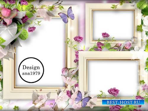 Рамка для фотошопа – Сердечко, бабочки, цветы