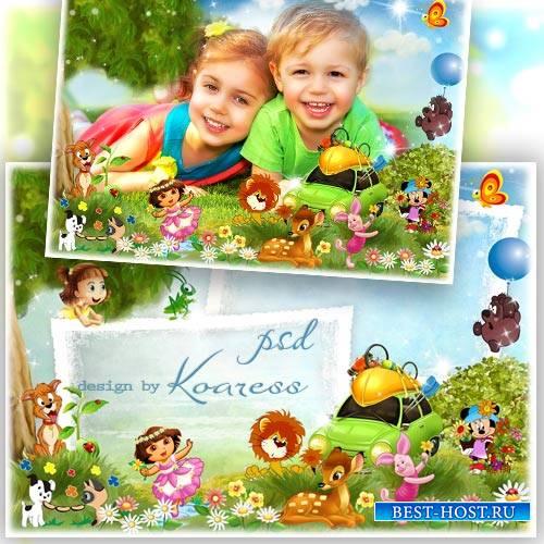 Рамка для фото с героями любмиых мультфильмов - Веселый пикник